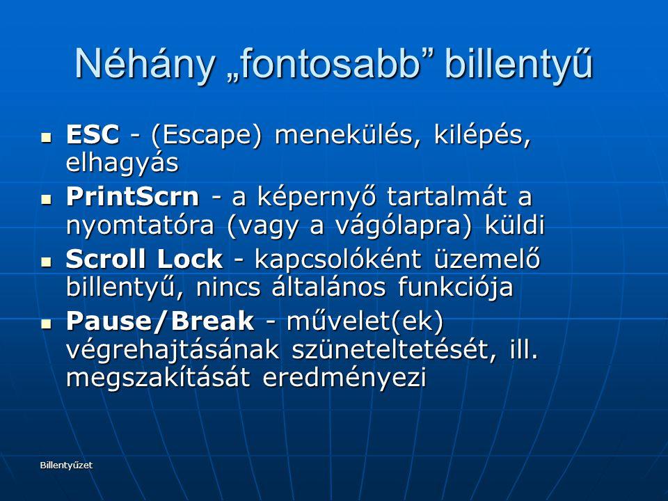 """Billentyűzet Néhány """"fontosabb"""" billentyű ESC - (Escape) menekülés, kilépés, elhagyás ESC - (Escape) menekülés, kilépés, elhagyás PrintScrn - a képern"""