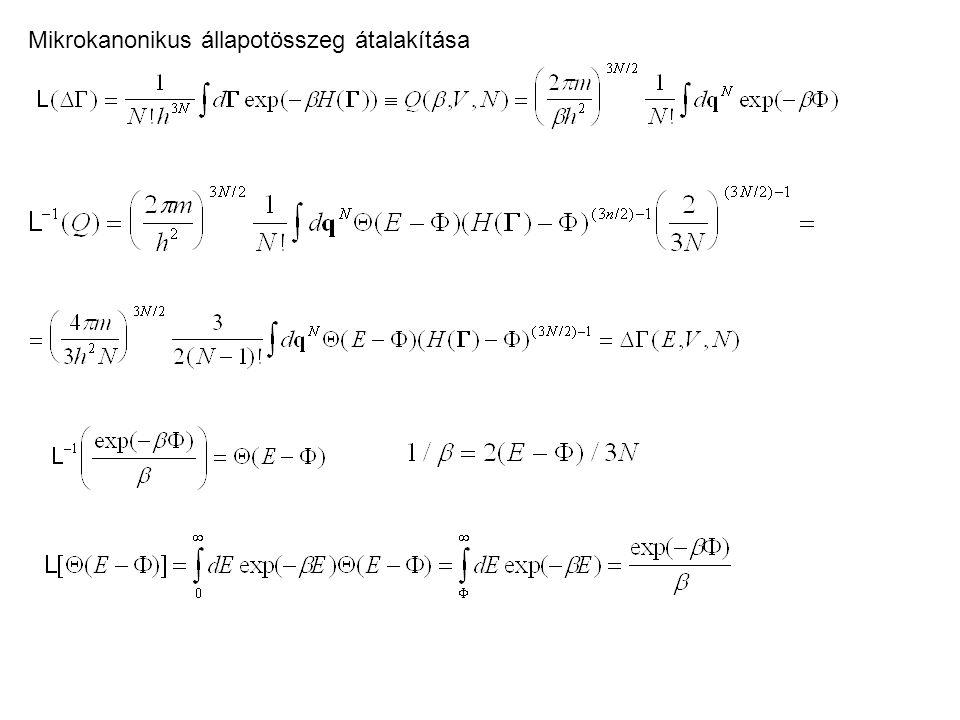 Származtatott mennyiségek (belső energia, hőkapacitás) Nyomás