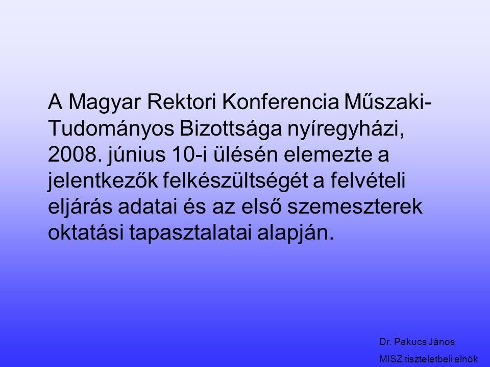Dr. Pakucs János MISZ tiszteletbeli elnök A Magyar Rektori Konferencia Műszaki- Tudományos Bizottsága nyíregyházi, 2008. június 10-i ülésén elemezte a