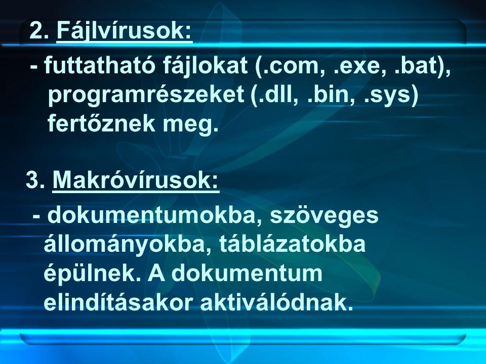 2. Fájlvírusok: - futtatható fájlokat (.com,.exe,.bat), programrészeket (.dll,.bin,.sys) fertőznek meg. 3. Makróvírusok: - dokumentumokba, szöveges ál