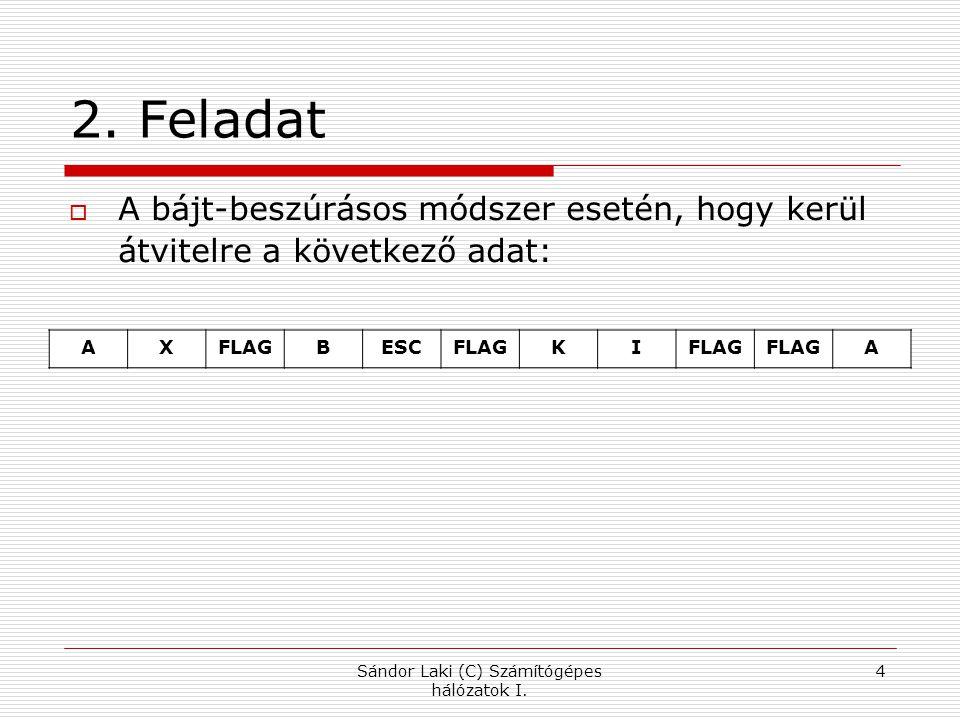 2. Feladat  A bájt-beszúrásos módszer esetén, hogy kerül átvitelre a következő adat: Sándor Laki (C) Számítógépes hálózatok I. 4 AXFLAGBESCFLAGKI A