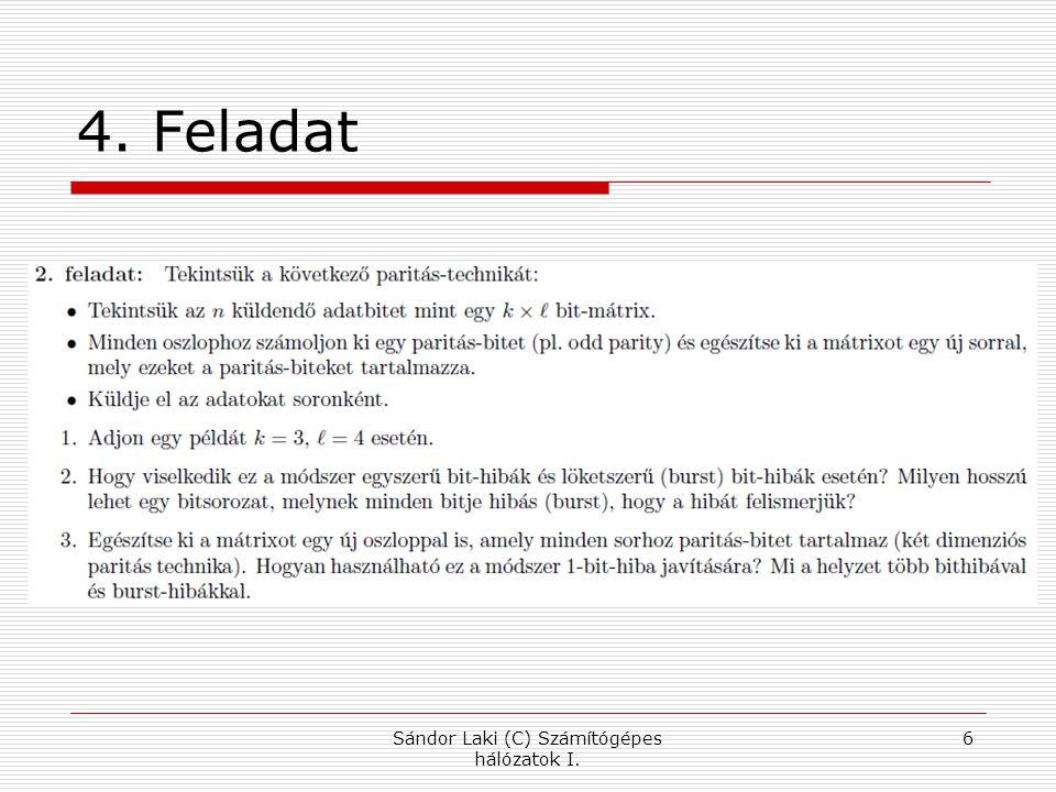 4. Feladat Sándor Laki (C) Számítógépes hálózatok I. 6