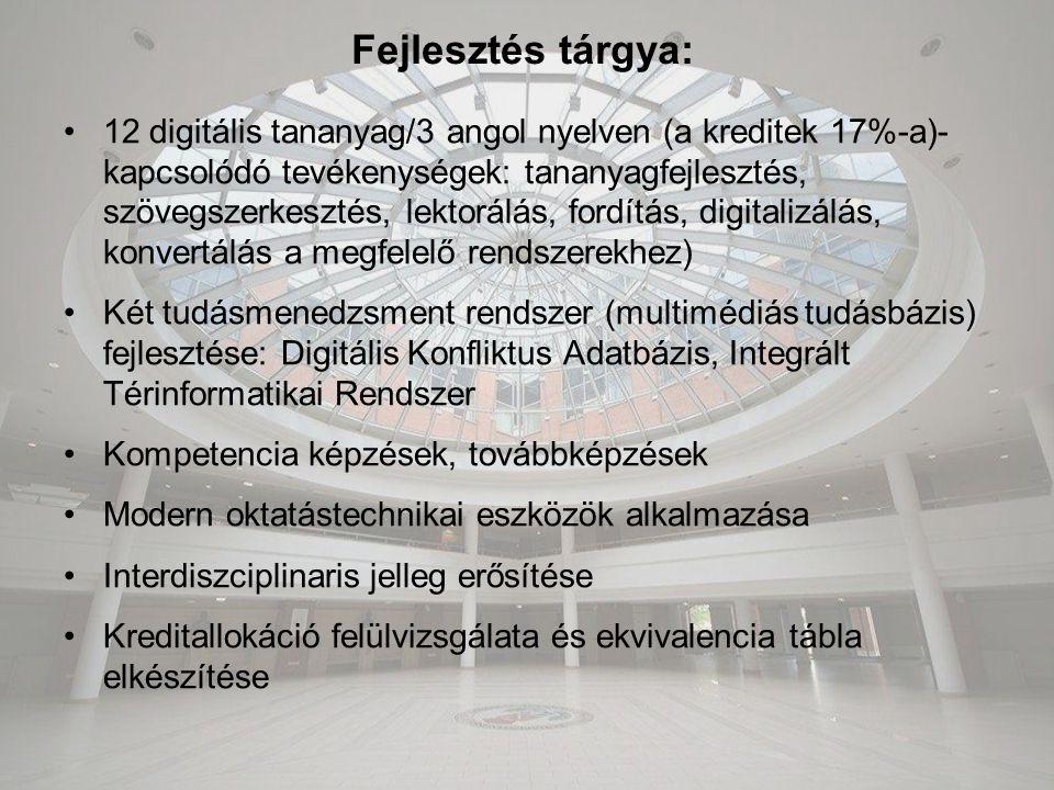 Fejlesztés tárgya: 12 digitális tananyag/3 angol nyelven (a kreditek 17%-a)- kapcsolódó tevékenységek: tananyagfejlesztés, szövegszerkesztés, lektorálás, fordítás, digitalizálás, konvertálás a megfelelő rendszerekhez) Két tudásmenedzsment rendszer (multimédiás tudásbázis) fejlesztése: Digitális Konfliktus Adatbázis, Integrált Térinformatikai Rendszer Kompetencia képzések, továbbképzések Modern oktatástechnikai eszközök alkalmazása Interdiszciplinaris jelleg erősítése Kreditallokáció felülvizsgálata és ekvivalencia tábla elkészítése