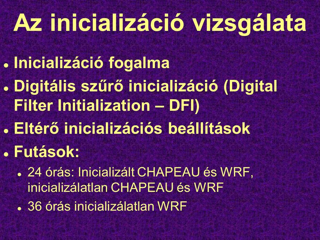 Az inicializáció vizsgálata Inicializáció fogalma Digitális szűrő inicializáció (Digital Filter Initialization – DFI) Eltérő inicializációs beállítások Futások: 24 órás: Inicializált CHAPEAU és WRF, inicializálatlan CHAPEAU és WRF 36 órás inicializálatlan WRF