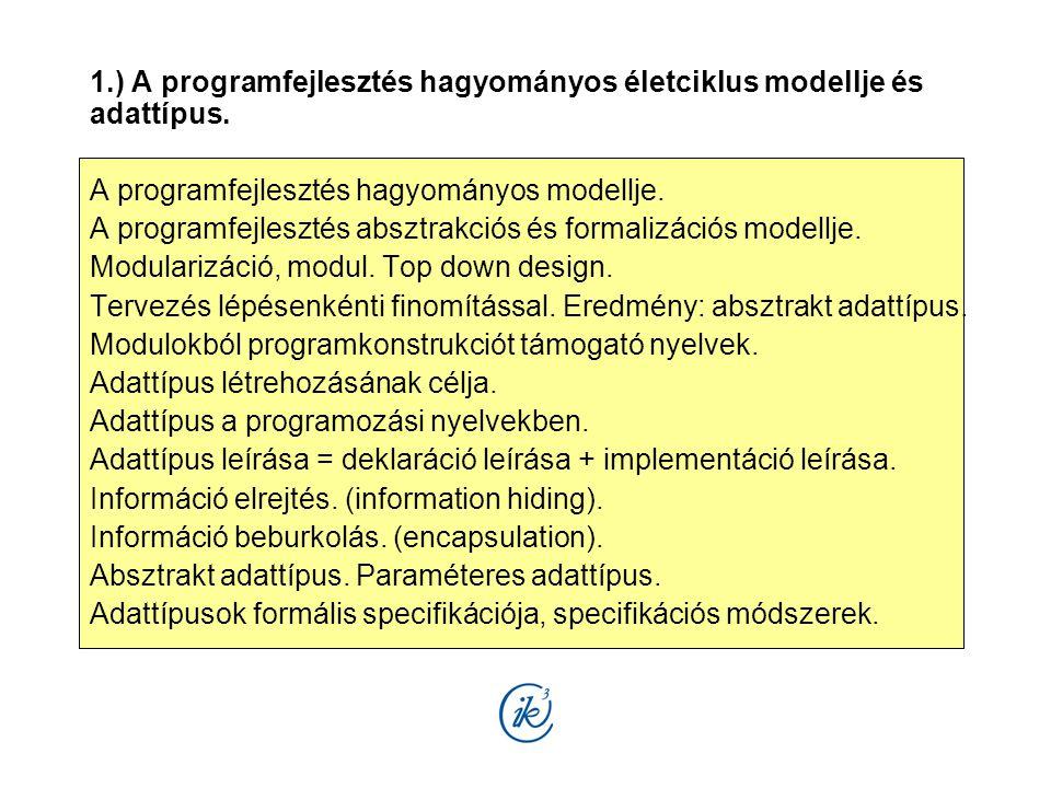 1.) A programfejlesztés hagyományos életciklus modellje és adattípus. A programfejlesztés hagyományos modellje. A programfejlesztés absztrakciós és fo