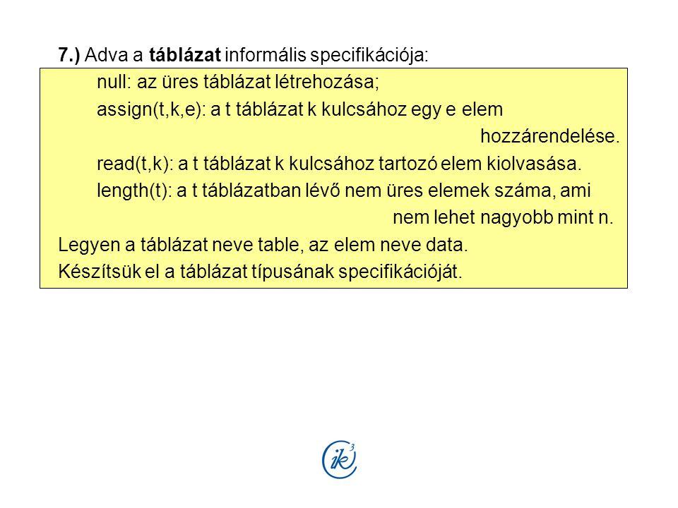 7.) Adva a táblázat informális specifikációja: null: az üres táblázat létrehozása; assign(t,k,e): a t táblázat k kulcsához egy e elem hozzárendelése.