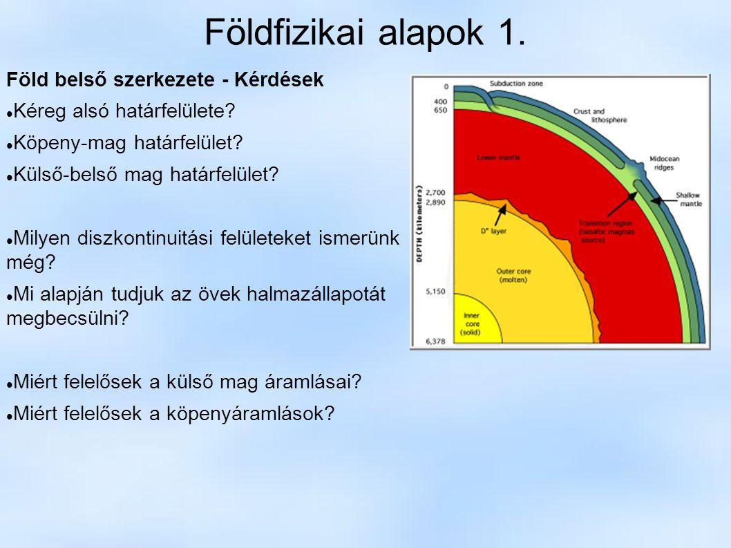 Földfizikai alapok 1. Föld belső szerkezete - Kérdések Kéreg alsó határfelülete? Köpeny-mag határfelület? Külső-belső mag határfelület? Milyen diszkon
