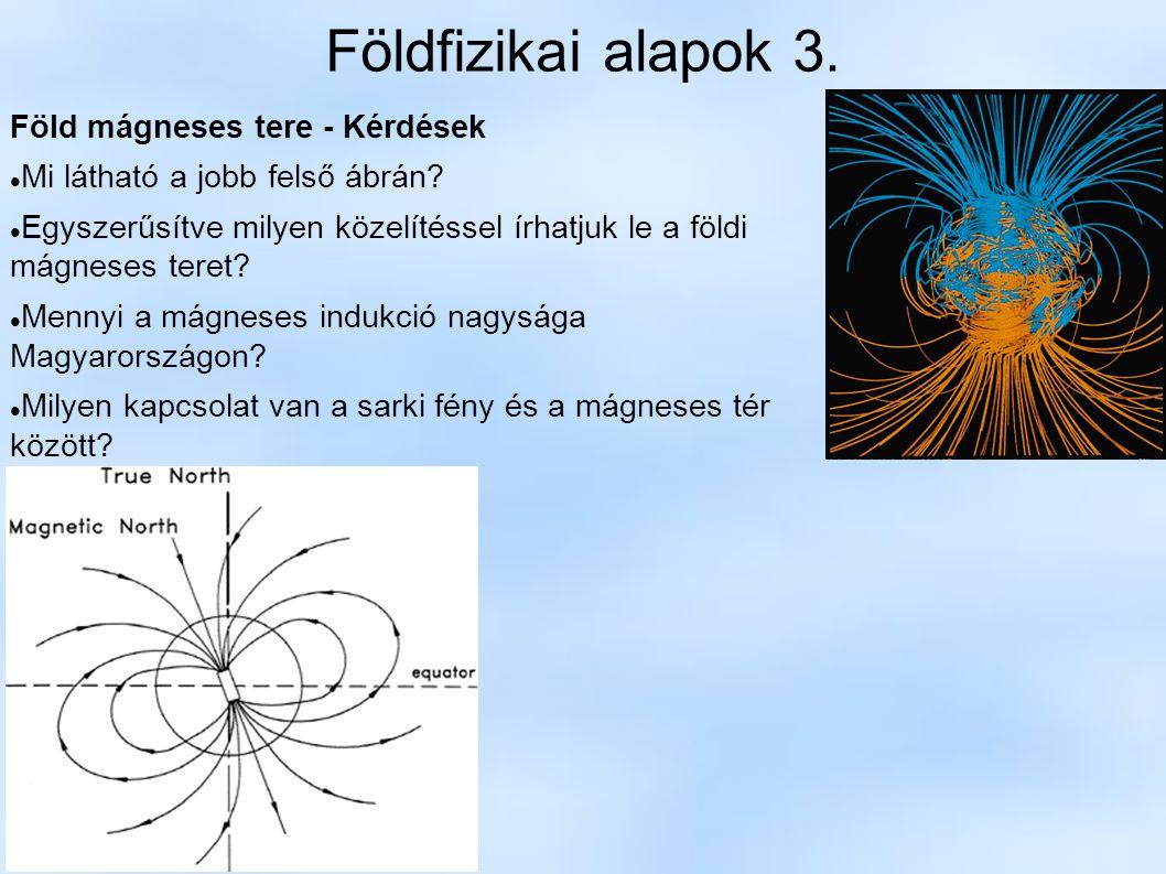 Földfizikai alapok 3. Föld mágneses tere - Kérdések Mi látható a jobb felső ábrán? Egyszerűsítve milyen közelítéssel írhatjuk le a földi mágneses tere