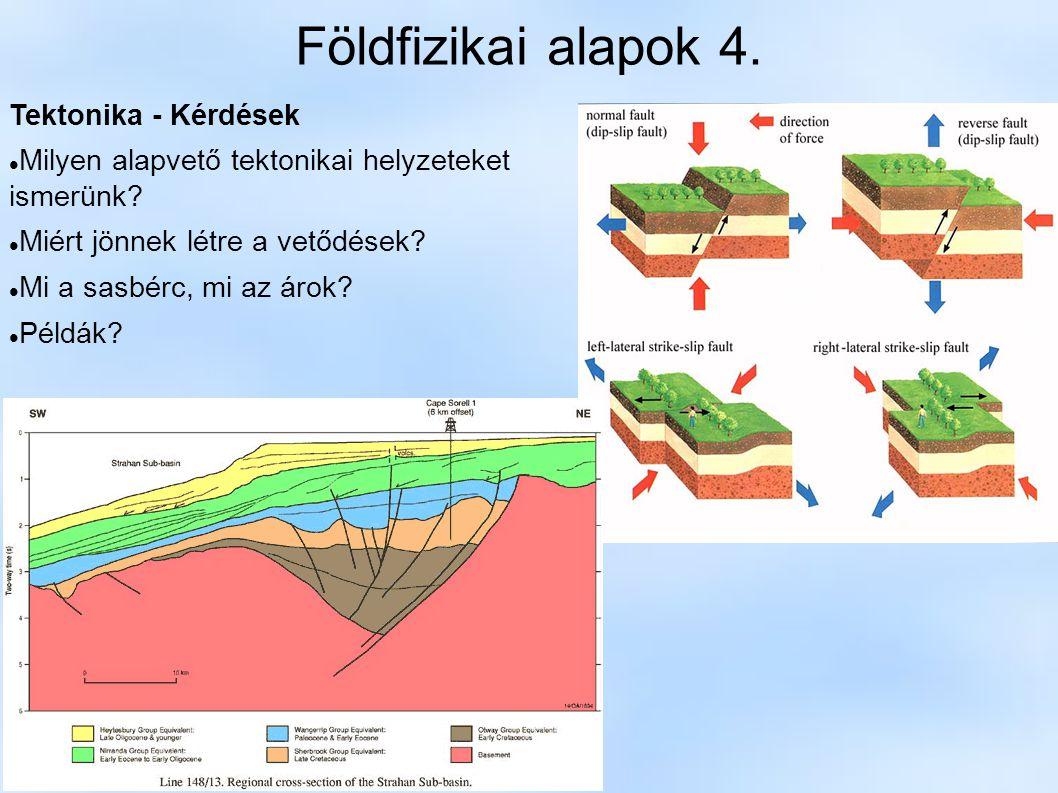 Földfizikai alapok 4. Tektonika - Kérdések Milyen alapvető tektonikai helyzeteket ismerünk? Miért jönnek létre a vetődések? Mi a sasbérc, mi az árok?