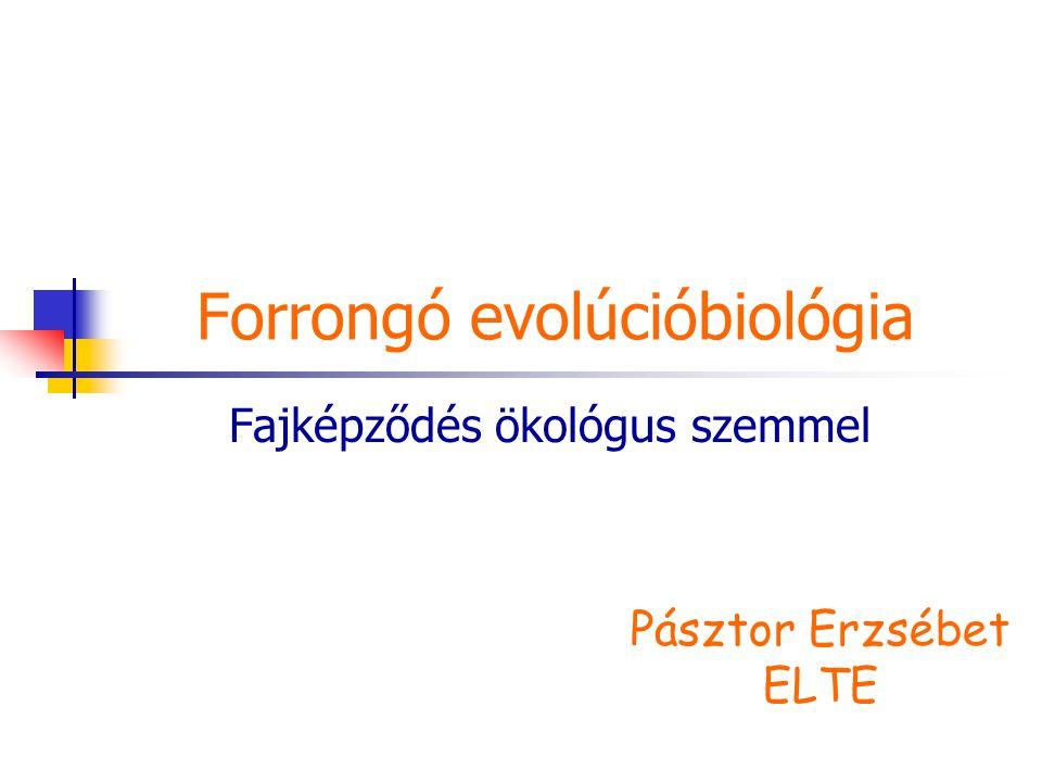 Forrongó evolúcióbiológia Fajképződés ökológus szemmel Pásztor Erzsébet ELTE