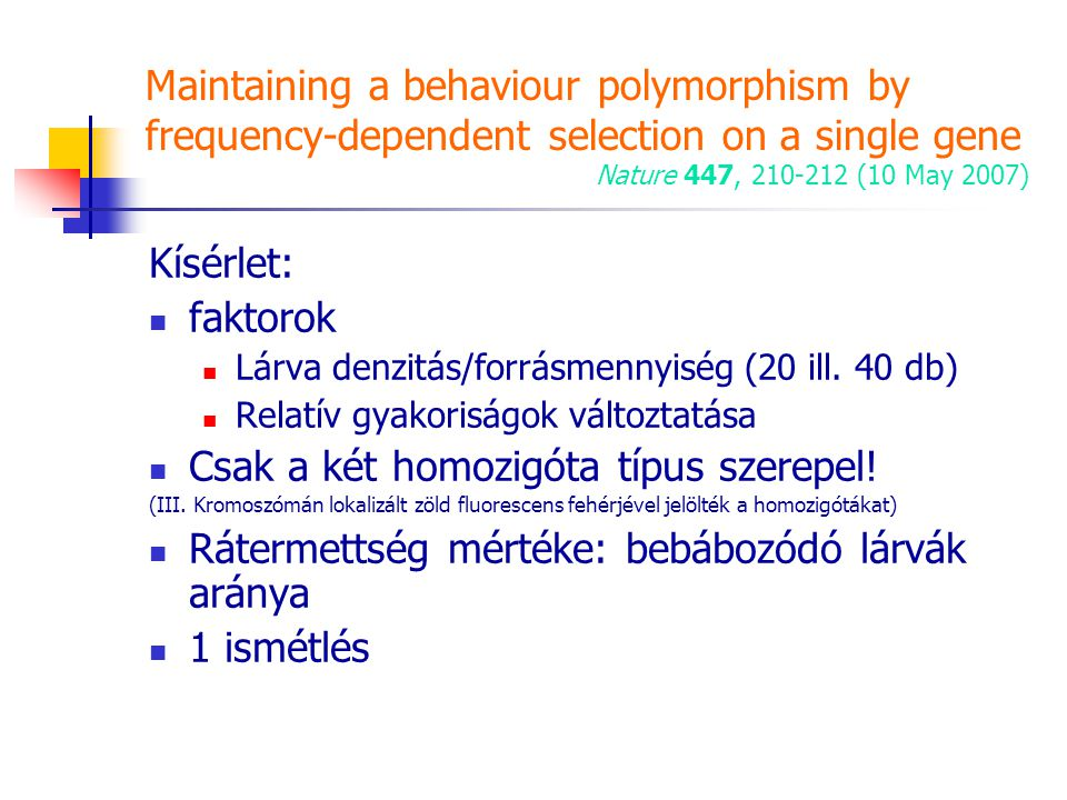 Maintaining a behaviour polymorphism by frequency-dependent selection on a single gene Nature 447, 210-212 (10 May 2007) Kísérlet: faktorok Lárva denz