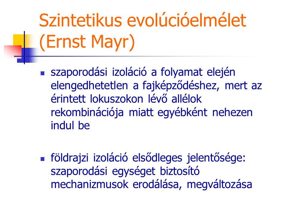 Szintetikus evolúcióelmélet (Ernst Mayr) szaporodási izoláció a folyamat elején elengedhetetlen a fajképződéshez, mert az érintett lokuszokon lévő allélok rekombinációja miatt egyébként nehezen indul be földrajzi izoláció elsődleges jelentősége: szaporodási egységet biztosító mechanizmusok erodálása, megváltozása