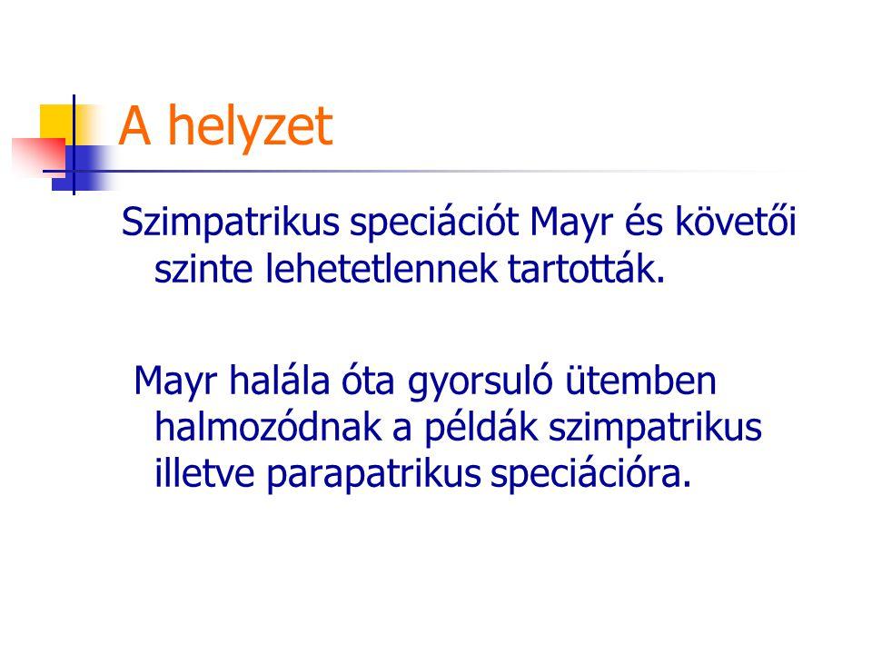 A helyzet Szimpatrikus speciációt Mayr és követői szinte lehetetlennek tartották. Mayr halála óta gyorsuló ütemben halmozódnak a példák szimpatrikus i