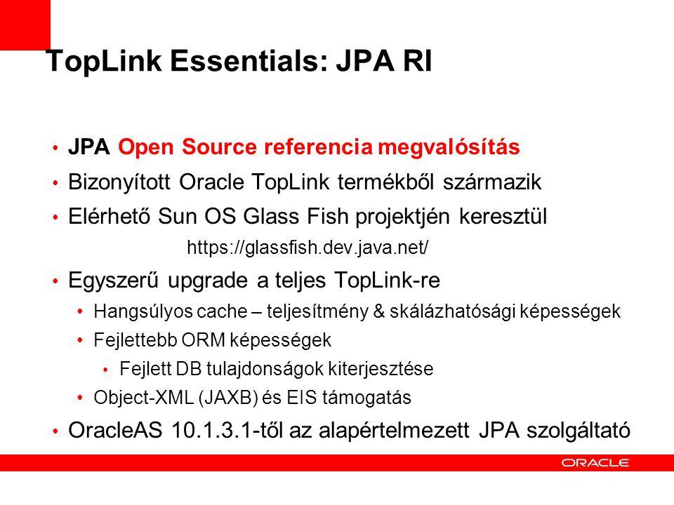 TopLink Essentials: JPA RI JPA Open Source referencia megvalósítás Bizonyított Oracle TopLink termékből származik Elérhető Sun OS Glass Fish projektjén keresztül https://glassfish.dev.java.net/ Egyszerű upgrade a teljes TopLink-re Hangsúlyos cache – teljesítmény & skálázhatósági képességek Fejlettebb ORM képességek Fejlett DB tulajdonságok kiterjesztése Object-XML (JAXB) és EIS támogatás OracleAS 10.1.3.1-től az alapértelmezett JPA szolgáltató
