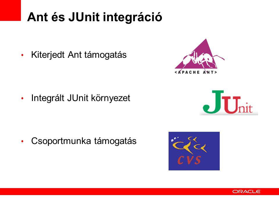 Ant és JUnit integráció Kiterjedt Ant támogatás Integrált JUnit környezet Csoportmunka támogatás