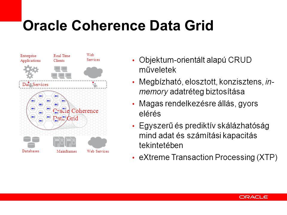 Oracle Coherence Data Grid Objektum-orientált alapú CRUD műveletek Megbízható, elosztott, konzisztens, in- memory adatréteg biztosítása Magas rendelkezésre állás, gyors elérés Egyszerű és prediktív skálázhatóság mind adat és számítási kapacitás tekintetében eXtreme Transaction Processing (XTP) Mainframes Databases Web Services Enterprise Applications Real Time Clients Web Services Oracle Coherence Data Grid Data Services