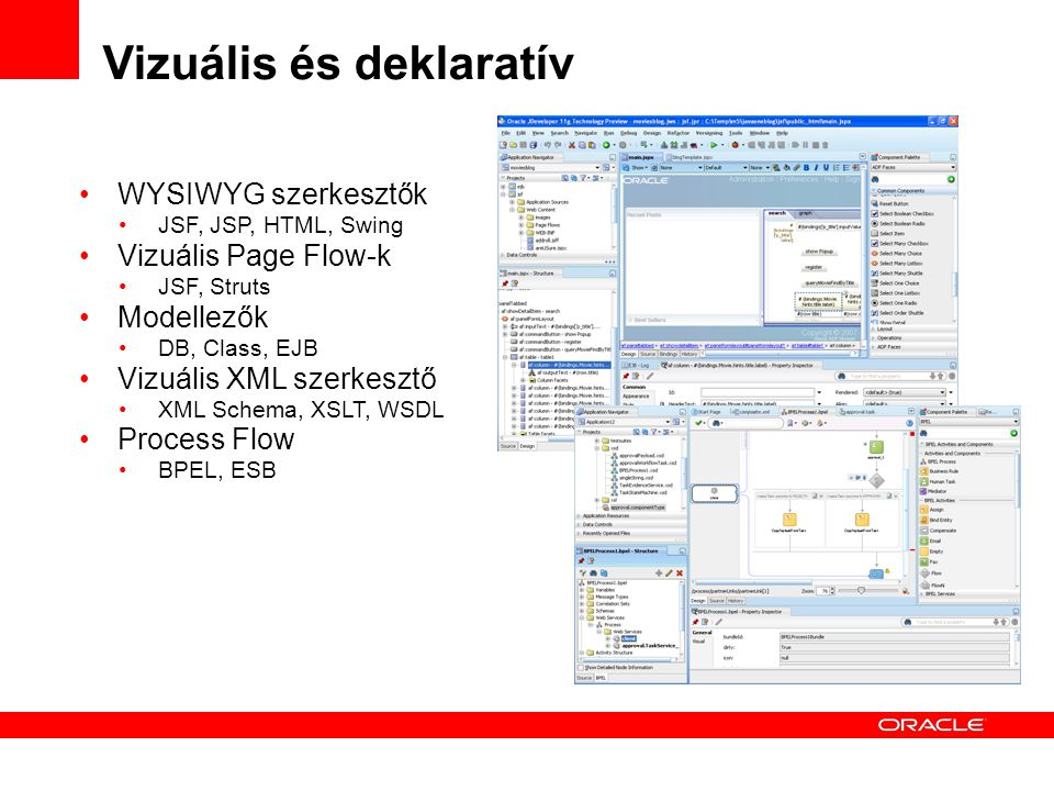 Vizuális és deklaratív WYSIWYG szerkesztők JSF, JSP, HTML, Swing Vizuális Page Flow-k JSF, Struts Modellezők DB, Class, EJB Vizuális XML szerkesztő XML Schema, XSLT, WSDL Process Flow BPEL, ESB