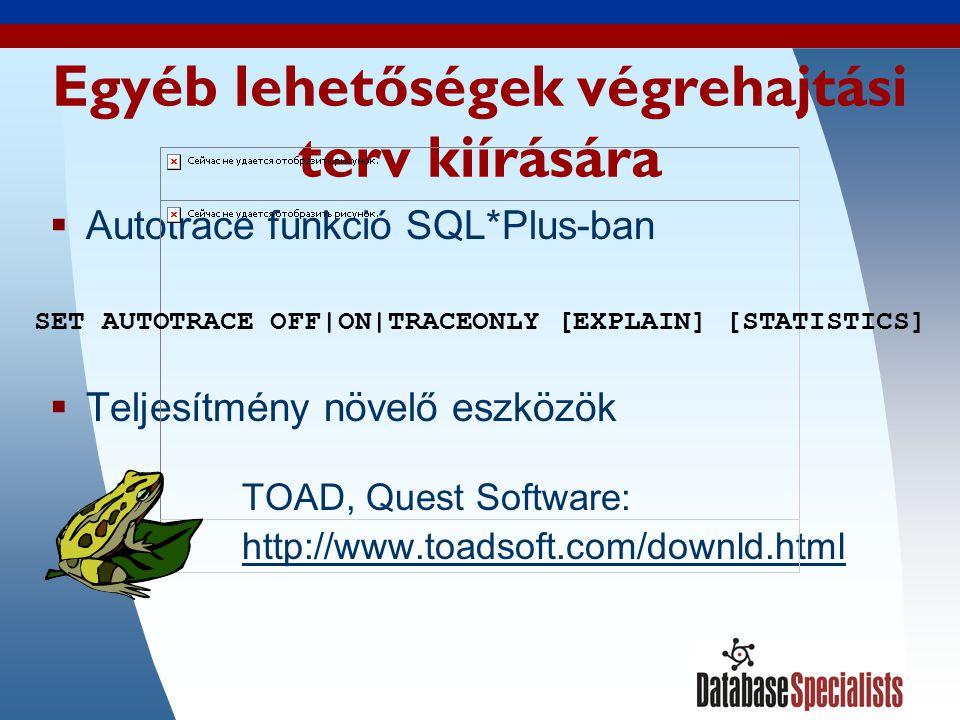 13 Autotrace kimeneti példa SQL*PLUS-ból végrehajtási terv ---------------------------------------------------------- 0 SELECT STATEMENT Optimizer=CHOOSE (Cost=4 Card=1 Bytes=39) 1 0 NESTED LOOPS (Cost=4 Card=1 Bytes=39) 2 1 NESTED LOOPS (Cost=3 Card=1 Bytes=27) 3 2 TABLE ACCESS (BY INDEX ROWID) OF INVOICE_ITEMS (Cost =2 Card=1 Bytes=15) 4 3 INDEX (UNIQUE SCAN) OF INVOICE_ITEMS_PK (UNIQUE) ( Cost=1 Card=2) 5 2 TABLE ACCESS (BY INDEX ROWID) OF INVOICES (Cost=1 Ca rd=2 Bytes=24) 6 5 INDEX (UNIQUE SCAN) OF INVOICES_PK (UNIQUE) 7 1 TABLE ACCESS (BY INDEX ROWID) OF CUSTOMERS (Cost=1 Car d=100 Bytes=1200) 8 7 INDEX (UNIQUE SCAN) OF CUSTOMERS_PK (UNIQUE)