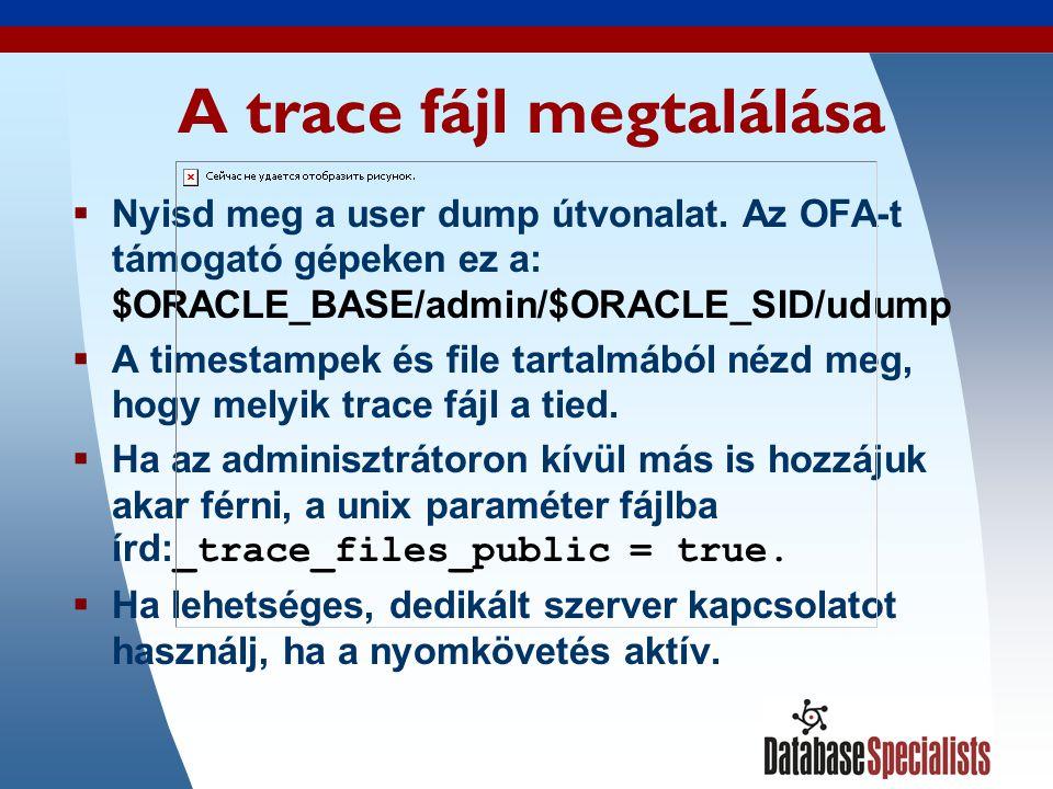 20 A trace fájl megtalálása  Nyisd meg a user dump útvonalat.