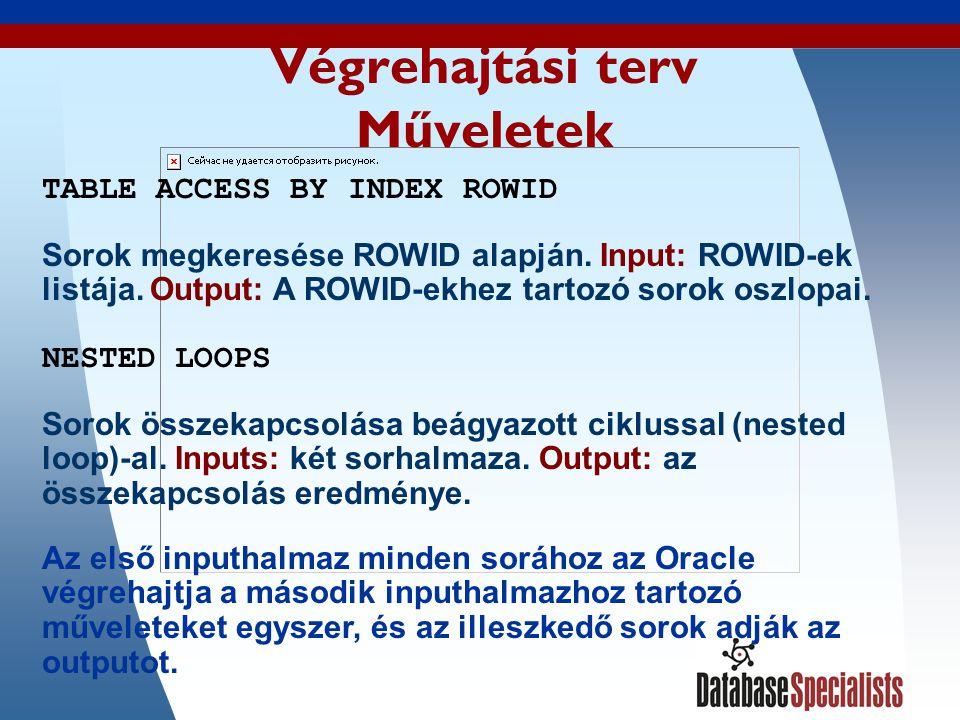 30 Végrehajtási terv Műveletek TABLE ACCESS BY INDEX ROWID Sorok megkeresése ROWID alapján.