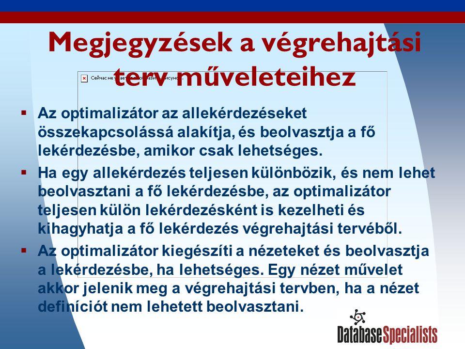 38 Megjegyzések a végrehajtási terv műveleteihez  Az optimalizátor az allekérdezéseket összekapcsolássá alakítja, és beolvasztja a fő lekérdezésbe, amikor csak lehetséges.