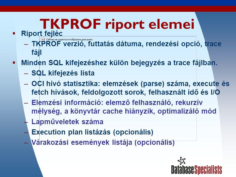 44 TKPROF riport elemei  Riport fejléc –TKPROF verzió, futtatás dátuma, rendezési opció, trace fájl  Minden SQL kifejezéshez külön bejegyzés a trace fájlban.
