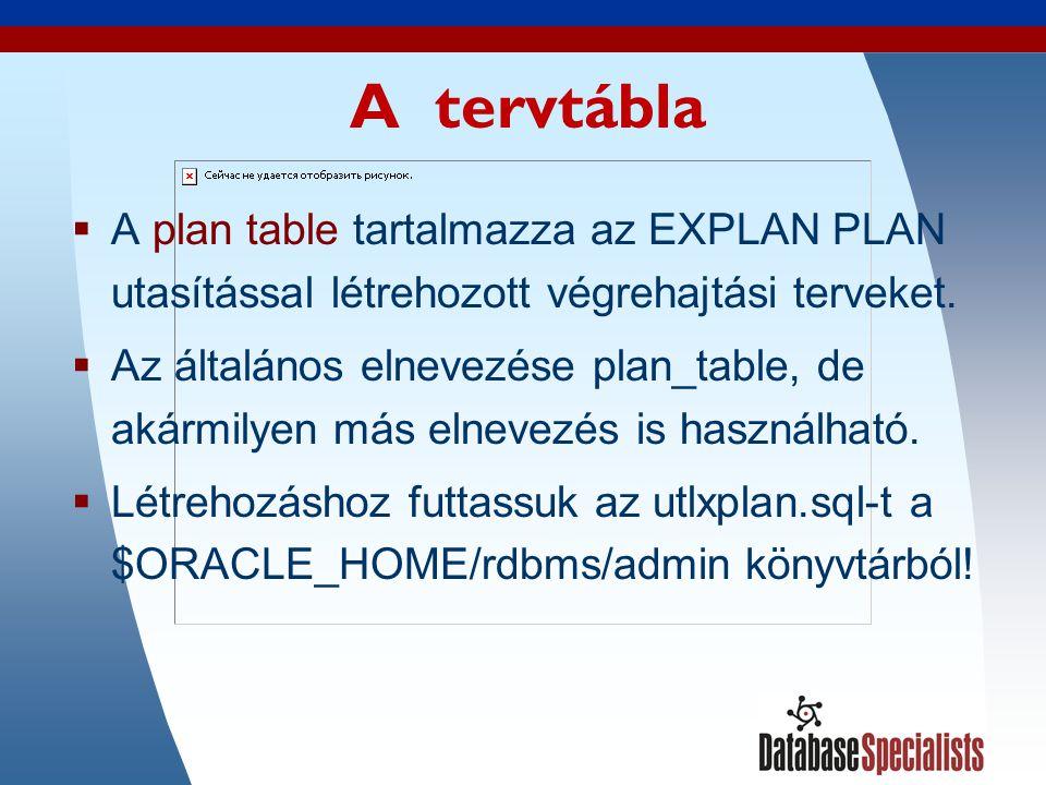 5 A tervtábla  A plan table tartalmazza az EXPLAN PLAN utasítással létrehozott végrehajtási terveket.