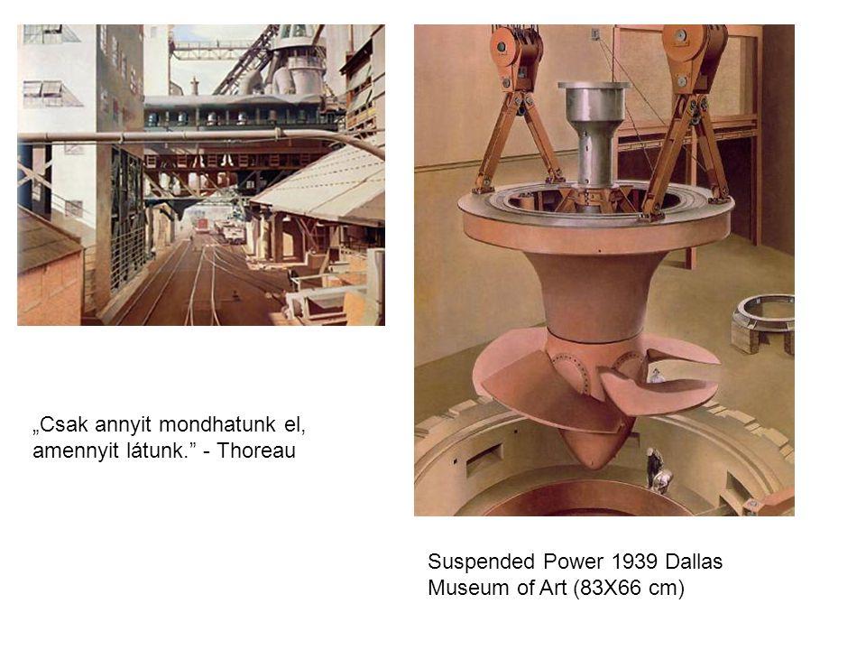 "Suspended Power 1939 Dallas Museum of Art (83X66 cm) ""Csak annyit mondhatunk el, amennyit látunk. - Thoreau"