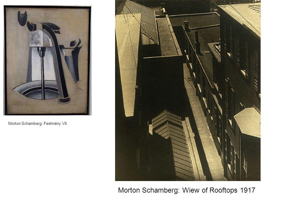 Morton Schamberg: Festmény VII. Morton Schamberg: Wiew of Rooftops 1917