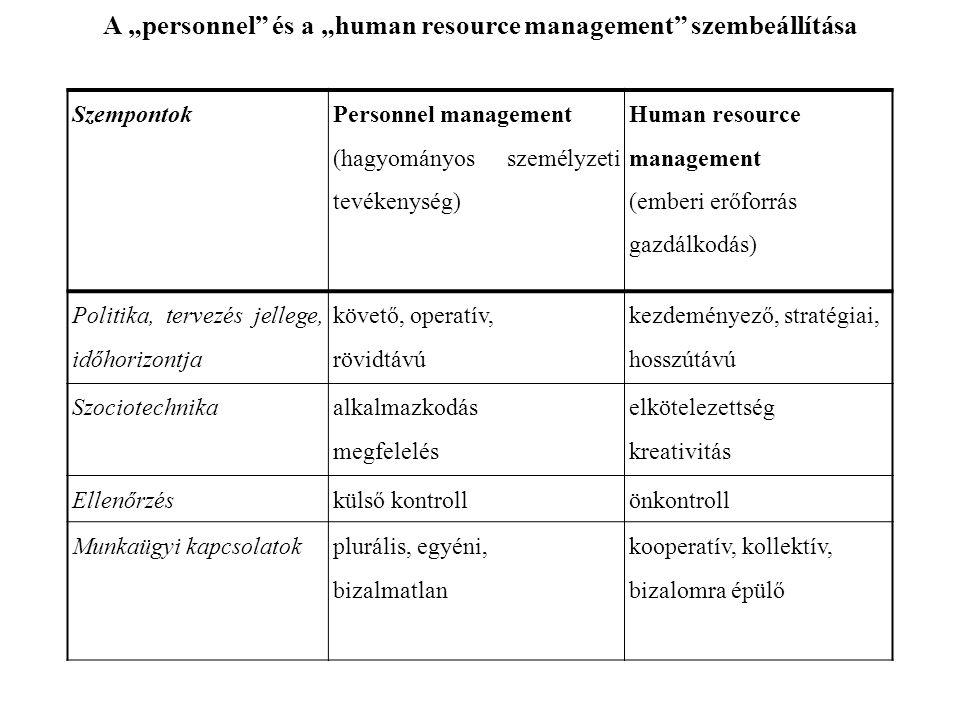 """Szempontok Personnel management (hagyományos személyzeti tevékenység) Human resource management (emberi erőforrás gazdálkodás) Politika, tervezés jellege, időhorizontja követő, operatív, rövidtávú kezdeményező, stratégiai, hosszútávú Szociotechnika alkalmazkodás megfelelés elkötelezettség kreativitás Ellenőrzéskülső kontrollönkontroll Munkaügyi kapcsolatokplurális, egyéni, bizalmatlan kooperatív, kollektív, bizalomra épülő A """"personnel és a """"human resource management szembeállítása"""