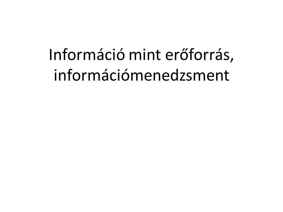 Információ mint erőforrás, információmenedzsment