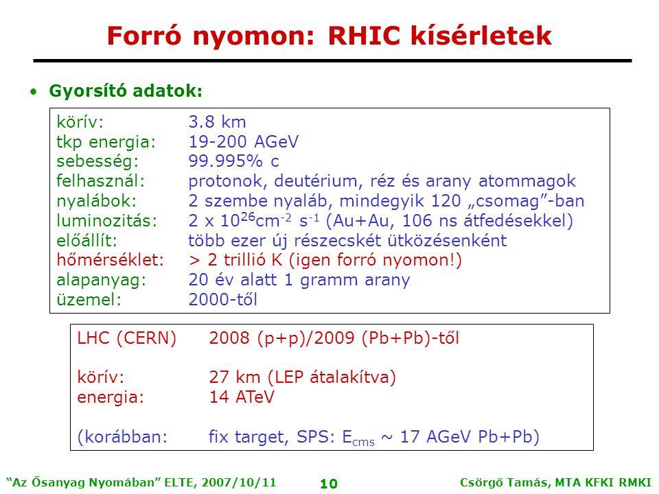 """Csörgő Tamás, MTA KFKI RMKI 10 Az Ősanyag Nyomában ELTE, 2007/10/11 Forró nyomon: RHIC kísérletek Gyorsító adatok: körív:3.8 km tkp energia:19-200 AGeV sebesség: 99.995% c felhasznál:protonok, deutérium, réz és arany atommagok nyalábok:2 szembe nyaláb, mindegyik 120 """"csomag -ban luminozitás:2 x 10 26 cm -2 s -1 (Au+Au, 106 ns átfedésekkel) előállít:több ezer új részecskét ütközésenként hőmérséklet:> 2 trillió K (igen forró nyomon!) alapanyag:20 év alatt 1 gramm arany üzemel:2000-től LHC (CERN)2008 (p+p)/2009 (Pb+Pb)-től körív:27 km (LEP átalakítva) energia:14 ATeV (korábban:fix target, SPS: E cms ~ 17 AGeV Pb+Pb)"""