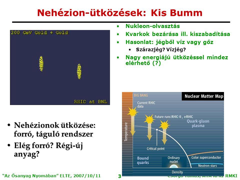 Csörgő Tamás, MTA KFKI RMKI 4 Az Ősanyag Nyomában ELTE, 2007/10/11 Relativistic Heavy Ion Collider RHIC: Relativisztikus nehézion ütköztető Két koncentrikus gyűrű, metszéspontokon ütközések Nyaláb: p, d, Cu, Au; Tömegközépponti energia: 20-500 GeV/nukleon 4 kísérleti együttműködés: BRAHMS, PHENIX, PHOBOS (Veres Gábor), STAR Magyar intézményi részvétel a PHENIX-ben: KFKI: Csörgő T., Hidas P., Nagy M., Ster A., Sziklai J., Vértesi R., Zimányi J.