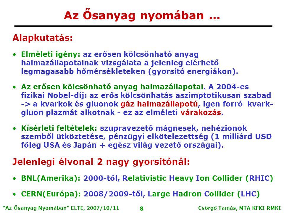 Csörgő Tamás, MTA KFKI RMKI 8 Az Ősanyag Nyomában ELTE, 2007/10/11 Az Ősanyag nyomában...
