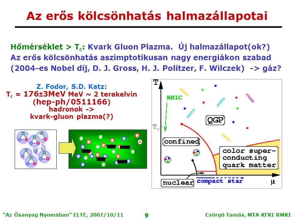Csörgő Tamás, MTA KFKI RMKI 9 Az Ősanyag Nyomában ELTE, 2007/10/11 Hőmérséklet > T c : Kvark Gluon Plazma.