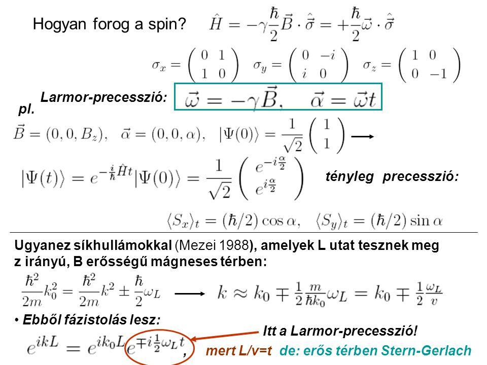Hogyan forog a spin. Larmor-precesszió: pl.