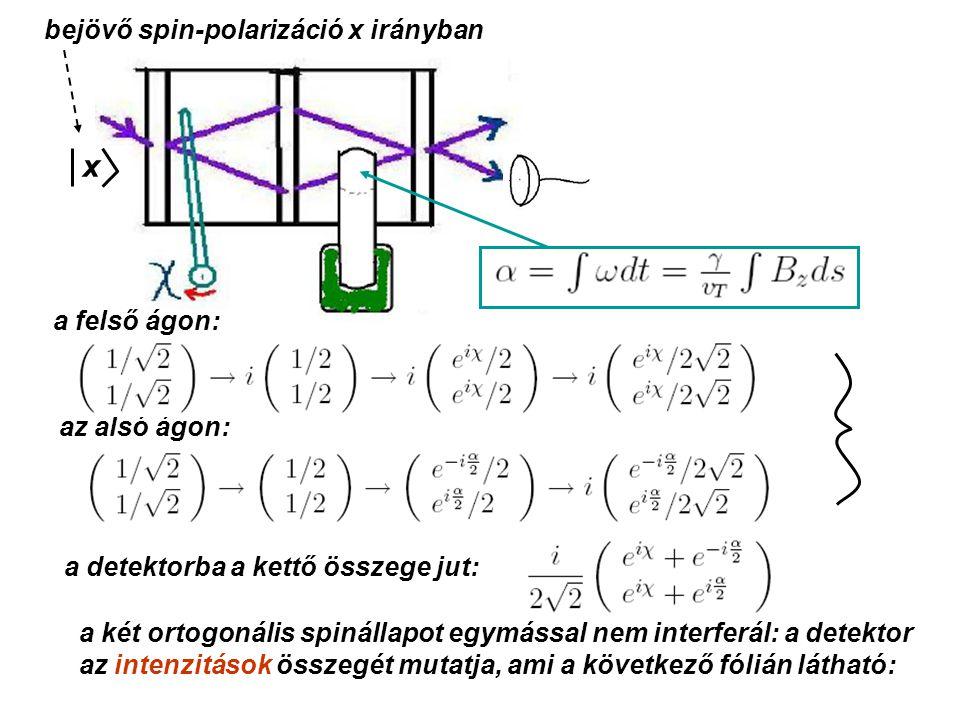 x a felső ágon: az alsó ágon: a detektorba a kettő összege jut: a két ortogonális spinállapot egymással nem interferál: a detektor az intenzitások összegét mutatja, ami a következő fólián látható: bejövő spin-polarizáció x irányban