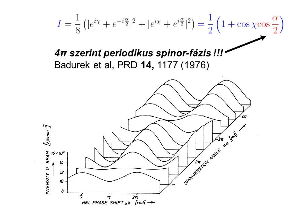 4π szerint periodikus spinor-fázis !!! Badurek et al, PRD 14, 1177 (1976)
