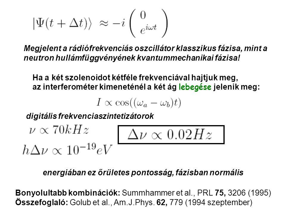 Megjelent a rádiófrekvenciás oszcillátor klasszikus fázisa, mint a neutron hullámfüggvényének kvantummechanikai fázisa.
