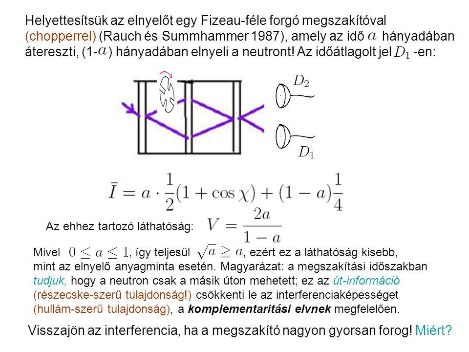 Helyettesítsük az elnyelőt egy Fizeau-féle forgó megszakítóval (chopperrel) (Rauch és Summhammer 1987), amely az idő hányadában átereszti, (1- ) hányadában elnyeli a neutront.