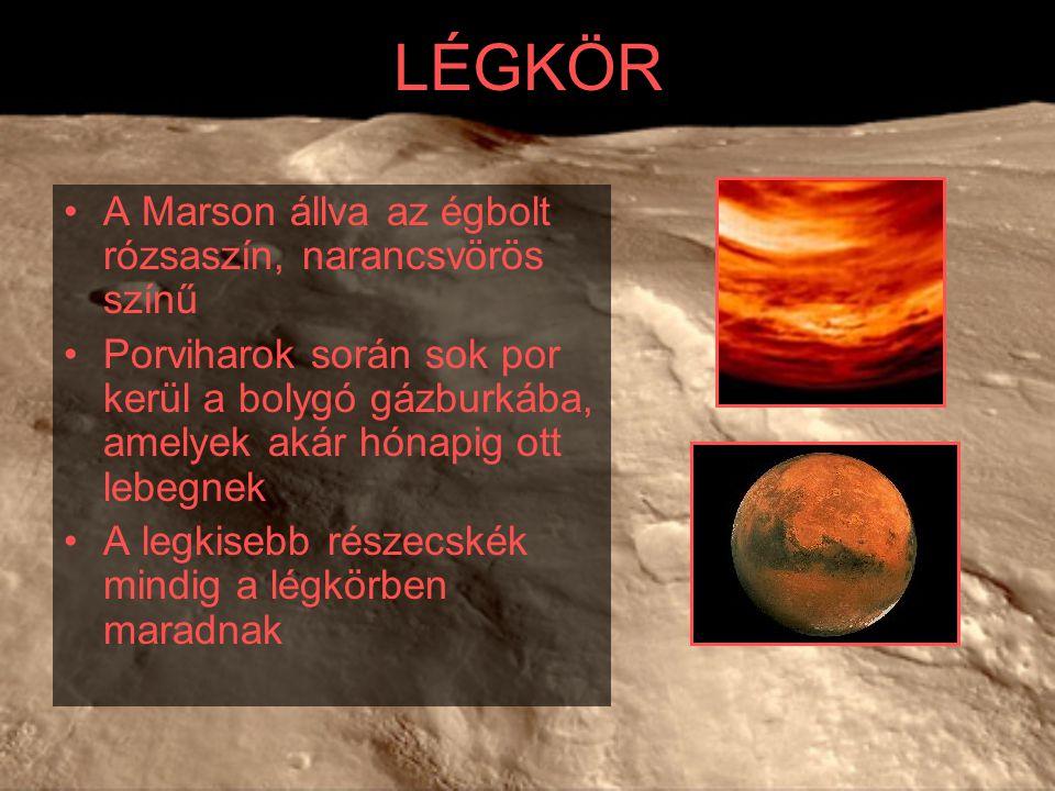 LÉGKÖR A Marson állva az égbolt rózsaszín, narancsvörös színű Porviharok során sok por kerül a bolygó gázburkába, amelyek akár hónapig ott lebegnek A
