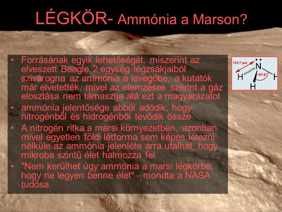 LÉGKÖR- Ammónia a Marson? Forrásának egyik lehetőségét, miszerint az elveszett Beagle 2 egység légzsákjaiból szivárogna az ammónia a levegőbe, a kutat
