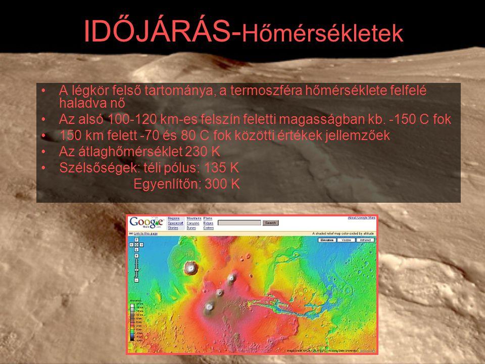 IDŐJÁRÁS- Hőmérsékletek A légkör felső tartománya, a termoszféra hőmérséklete felfelé haladva nő Az alsó 100-120 km-es felszín feletti magasságban kb.