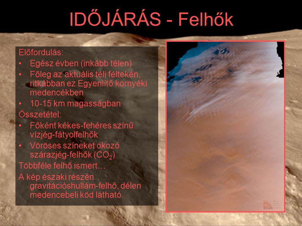 IDŐJÁRÁS - Felhők Előfordulás: Egész évben (inkább télen) Főleg az aktuális téli féltekén, ritkábban ez Egyenlítő környéki medencékben 10-15 km magasságban Összetétel: Főként kékes-fehéres színű vízjég-fátyolfelhők Vöröses színeket okozó szárazjég-felhők (CO 2 ) Többféle felhő ismert… A kép északi részén gravitációshullám-felhő, délen medencebeli köd látható.