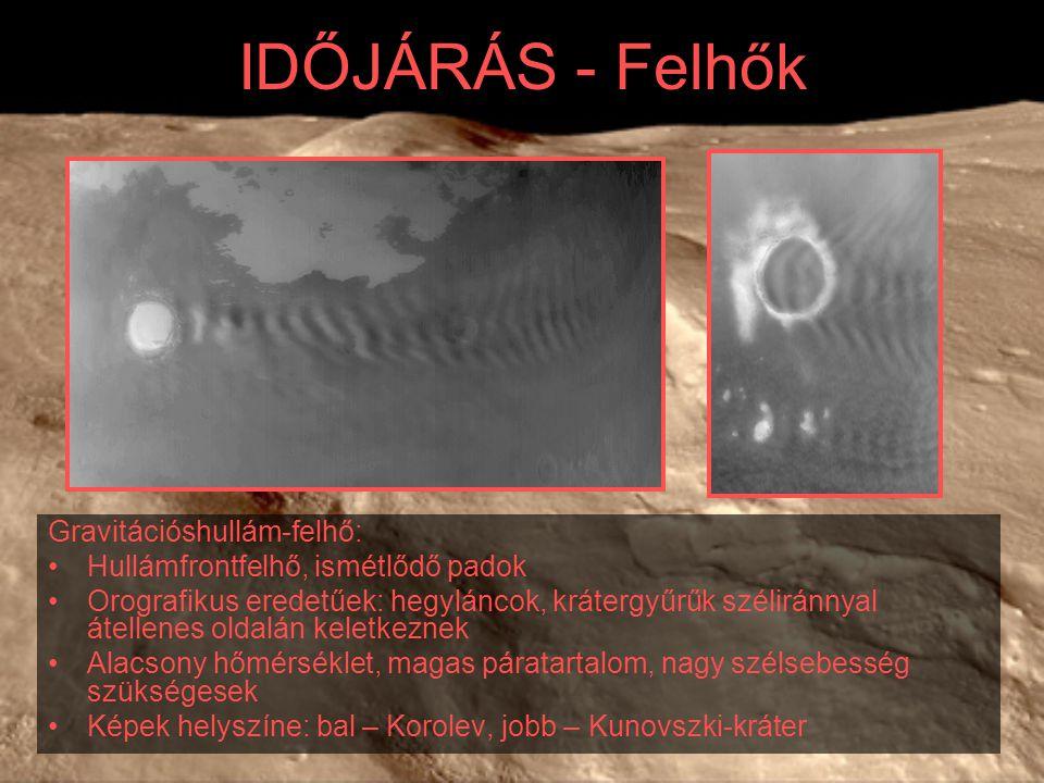 IDŐJÁRÁS - Felhők Gravitációshullám-felhő: Hullámfrontfelhő, ismétlődő padok Orografikus eredetűek: hegyláncok, krátergyűrűk széliránnyal átellenes oldalán keletkeznek Alacsony hőmérséklet, magas páratartalom, nagy szélsebesség szükségesek Képek helyszíne: bal – Korolev, jobb – Kunovszki-kráter