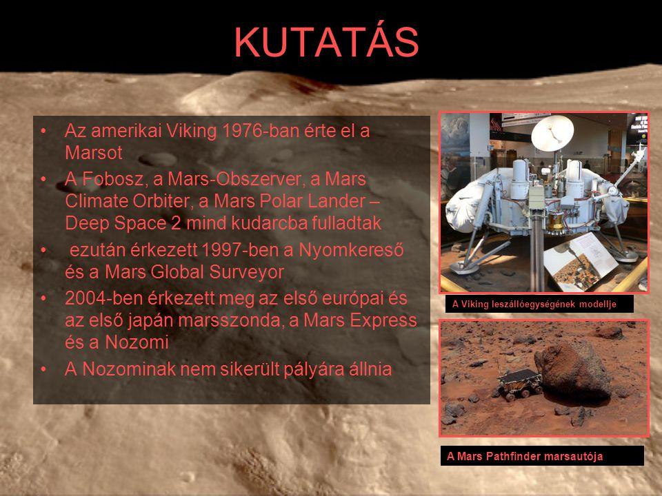 KUTATÁS Az amerikai Viking 1976-ban érte el a Marsot A Fobosz, a Mars-Obszerver, a Mars Climate Orbiter, a Mars Polar Lander – Deep Space 2 mind kudar
