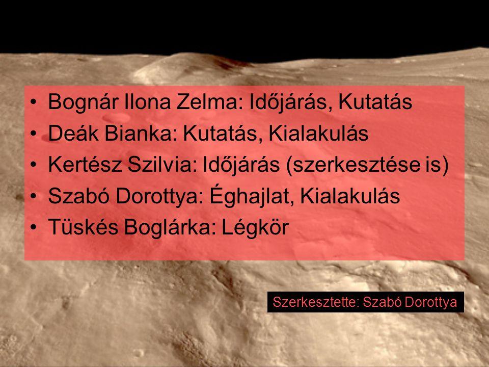 Bognár Ilona Zelma: Időjárás, Kutatás Deák Bianka: Kutatás, Kialakulás Kertész Szilvia: Időjárás (szerkesztése is) Szabó Dorottya: Éghajlat, Kialakulá