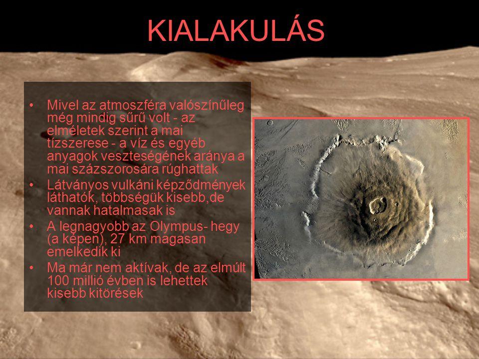 KIALAKULÁS Mivel az atmoszféra valószínűleg még mindig sűrű volt - az elméletek szerint a mai tízszerese - a víz és egyéb anyagok veszteségének aránya a mai százszorosára rúghattak Látványos vulkáni képződmények láthatók, többségük kisebb,de vannak hatalmasak is A legnagyobb az Olympus- hegy (a képen), 27 km magasan emelkedik ki Ma már nem aktívak, de az elmúlt 100 millió évben is lehettek kisebb kitörések