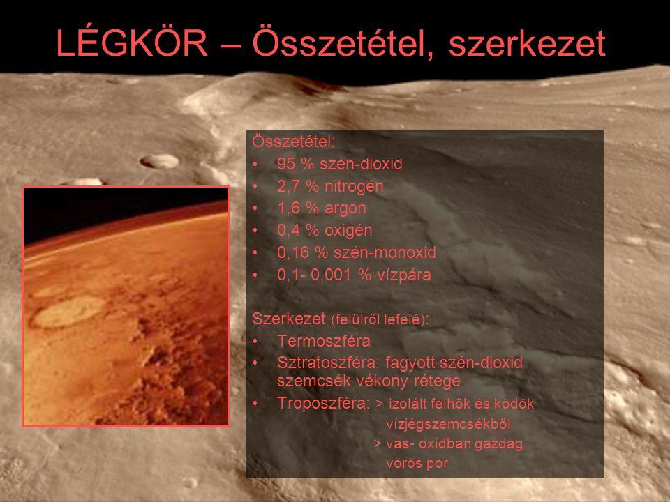 KUTATÁS Az amerikai Viking 1976-ban érte el a Marsot A Fobosz, a Mars-Obszerver, a Mars Climate Orbiter, a Mars Polar Lander – Deep Space 2 mind kudarcba fulladtak ezután érkezett 1997-ben a Nyomkereső és a Mars Global Surveyor 2004-ben érkezett meg az első európai és az első japán marsszonda, a Mars Express és a Nozomi A Nozominak nem sikerült pályára állnia A Viking leszállóegységének modellje A Mars Pathfinder marsautója