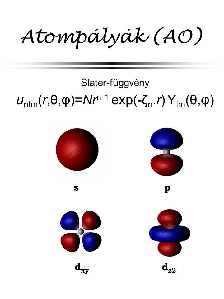 Atompályák (AO) Slater-függvény u nlm (r,θ,φ)=Nr n-1 exp(-ζ n.r) Y lm (θ,φ) d xy d z2 s p